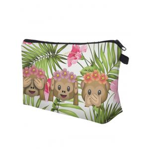 Emoji Print Clutch Makeup Bag - GRASS GREEN