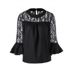 Lace Panel Hollow Out Blouse