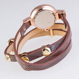 Faux Leather Strap Round Wrap Bracelet Watch -