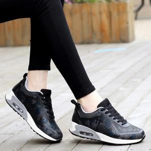 Floral Print Air Cushion Athletic Shoes - BLACK AND GREY 37
