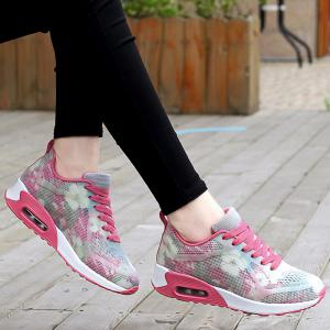 Floral Print Air Cushion Athletic Shoes - RED WITH WHITE 40