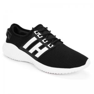 Color Block Sports Breathable Sneakers - Black White - 37