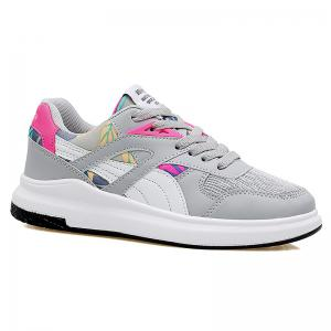 Mesh Color Block Athletic Shoes - Grey And White - 38