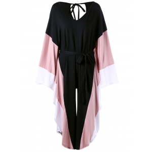 Cut Out Batwing Sleeve Palazzo Jumpsuit - Black - One Size