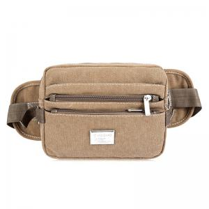 Canvas Multi Zips Waist Bag - Khaki - 41