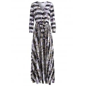 Plunging Neck Chain Print Striped Surplice Maxi Dress
