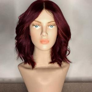 Center Part Medium Shaggy Wavy Synthetic Wig