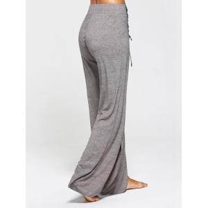 Lace Ups Embellished High Slit Palazzo Pants - GRAY S