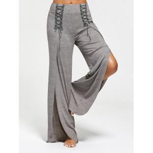 Lace Ups Embellished High Slit Palazzo Pants - Gray - S