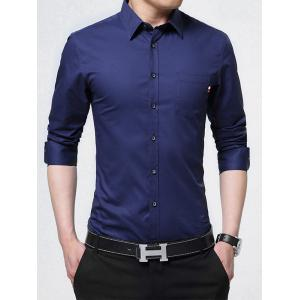 Long Sleeve Chest Pocket Business Shirt - Deep Blue - L