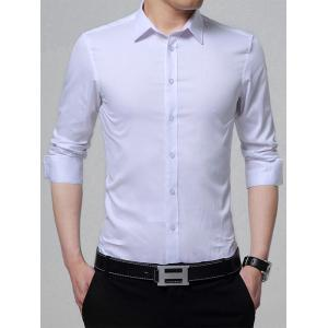 Long Sleeve Turndown Collar Shirt - White - L