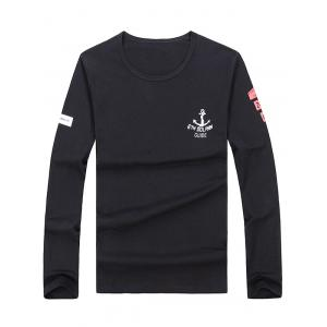 Long Sleeve Anchor Print Tee - Black - L
