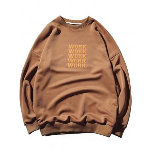 Crew Neck Drop Shoulder Work Print Sweatshirt