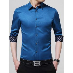 Geometric Long Sleeve Business Shirt - Royal - L