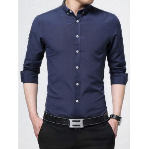 Button Down Long Sleeve Business Shirt - Purplish Blue - L