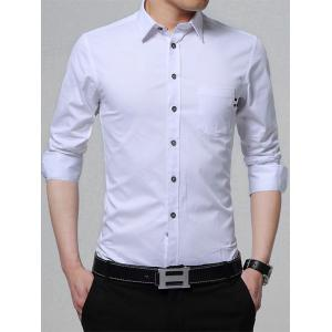 Long Sleeve Chest Pocket Business Shirt