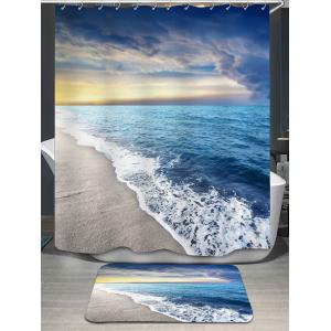 Sea Tides Printed Shower Curtain and Rug - Blue - W71 Inch * L79 Inch