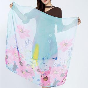 Flower Splash Ink Print Chiffon Square Scarf - Azure