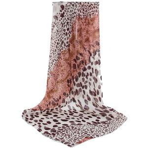 Cheetah Print Color Block Chiffon Square Scarf - Brown