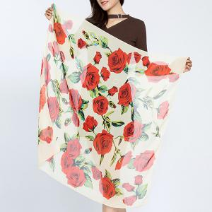 Full Rose Leaf Print Chiffon Square Scarf