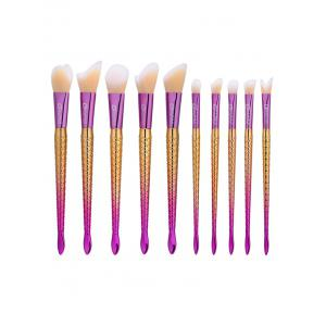 10Pcs Ombre Handle Mermaid Makeup Brushes Set - Colormix - S