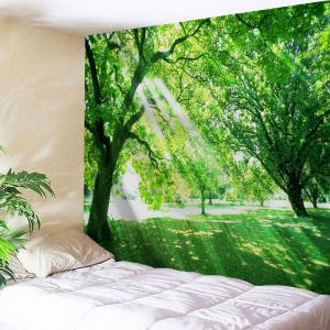 Sunlight Tree Print Tapestry Wall Hanging Art Decoration - Green - W71 Inch * L91 Inch