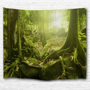 Polyester Fabric Sunlight Forest Print Wall Tapestry -