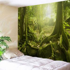 Polyester Fabric Sunlight Forest Print Wall Tapestry
