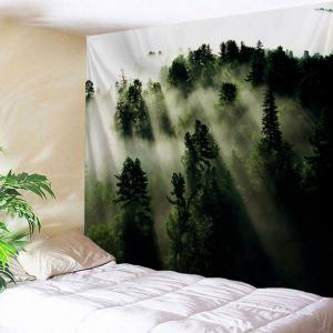 Wall Art Blanket Hanging Mystic Forest Tapestry - Deep Green - W71 Inch * L91 Inch