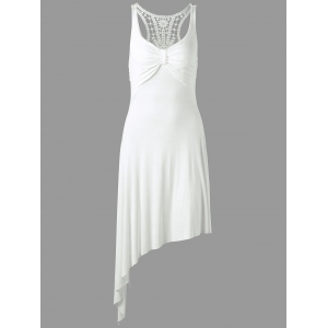 Racerback Lace Insert High Low Dress - White - One Size