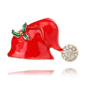 Rhinestone Christmas Hat Brooch