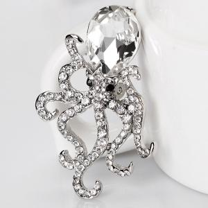 Octopus Shape Rhinestone Faux Crystal Inlay Brooch - SILVER