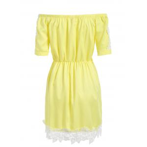 Lace Trim Off The Shoulder A Line Dress - YELLOW L