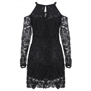 Cold Shoulder Long Sleeve Lace Bodycon Dress -