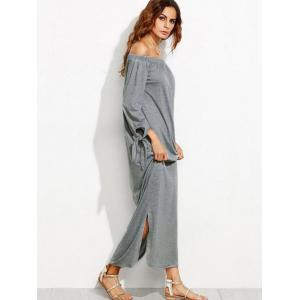 Off The Shoulder Long Sleeve Shift Maxi Dress - GRAY S