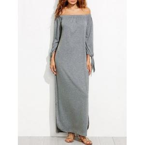 Off The Shoulder Long Sleeve Shift Maxi Dress - Gray - M