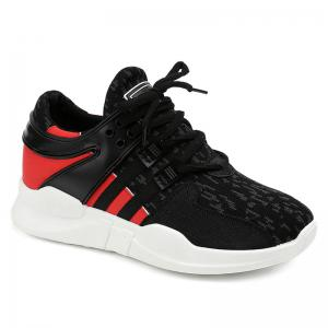 Breathable Colour Block Athletic Shoes - Black - 38