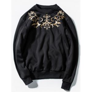 Pullover Embroidery Sweatshirt - Black - L