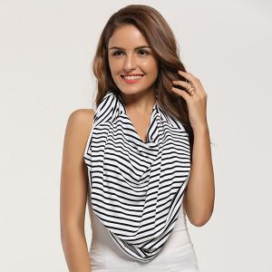 Breastfeeding Portable Striped Nursing Cover Scarf - WHITE