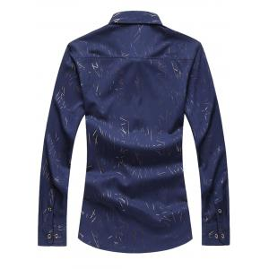 Allover Printed Long Sleeve Plus Size Shirt - CADETBLUE 5XL
