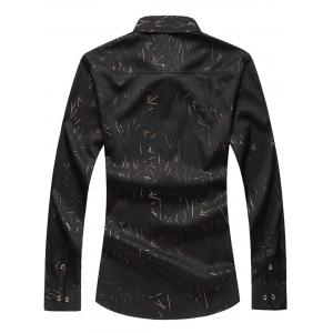 Allover Printed Long Sleeve Plus Size Shirt - BLACK 5XL