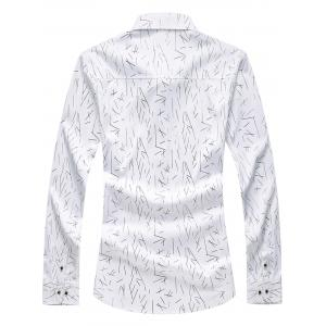 Allover Printed Long Sleeve Plus Size Shirt - WHITE 5XL