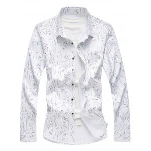 Allover Printed Long Sleeve Plus Size Shirt
