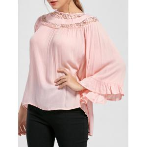 Lace Insert Flare Sleeve Flounced Blouse