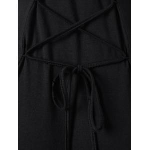 Hooded Lace Up Cold Shoulder Dress - BLACK M