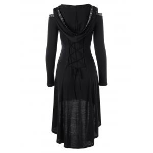 Hooded Lace Up Cold Shoulder Gothic Dress -