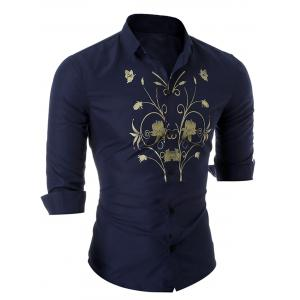 Floral Butterfly Long Sleeve Shirt - CADETBLUE M