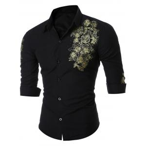 Button Floral Print Long Sleeve Shirt
