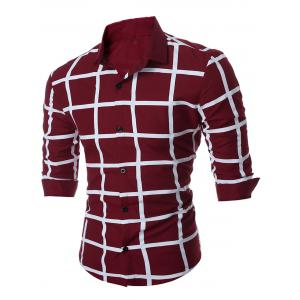 Geometric Grid Checkered Long Sleeve Shirt - Wine Red - 3xl