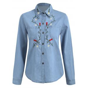 Floral Embroidered Chambray Shirt - Denim Blue - Xl